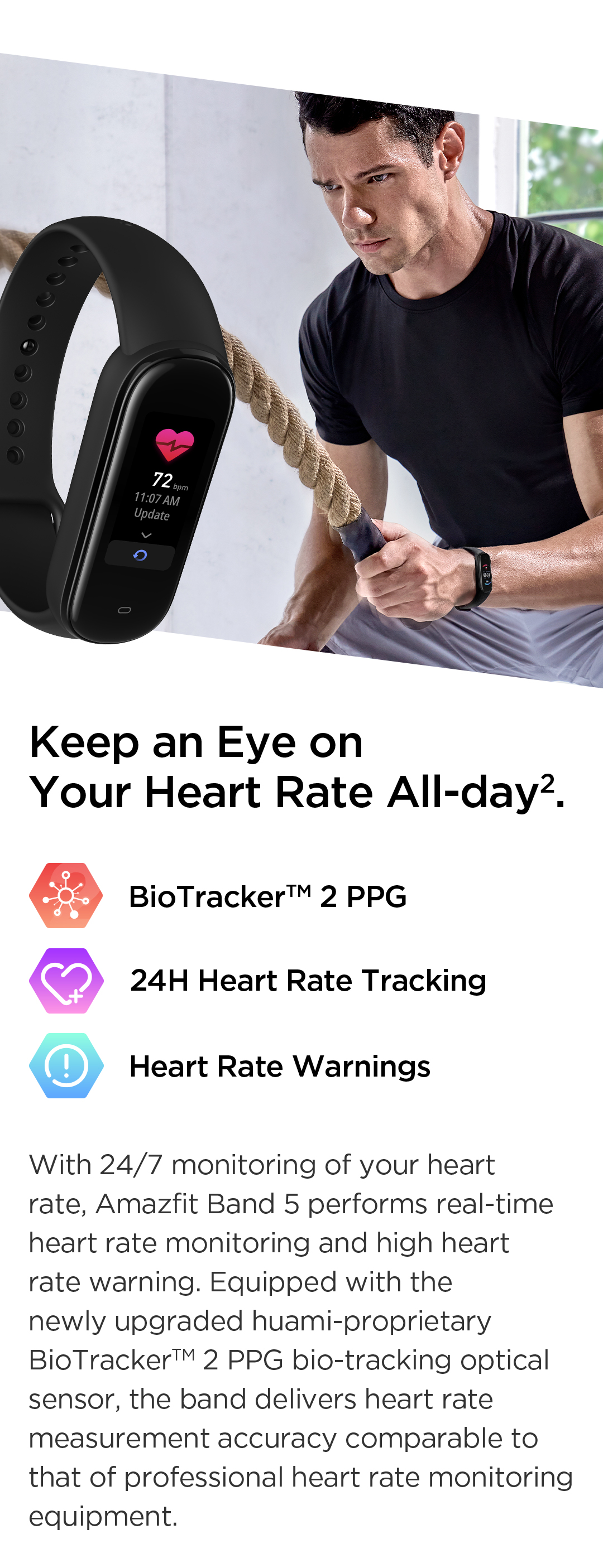 Amazfit Band 5 All Day Heart Rate Monitoring