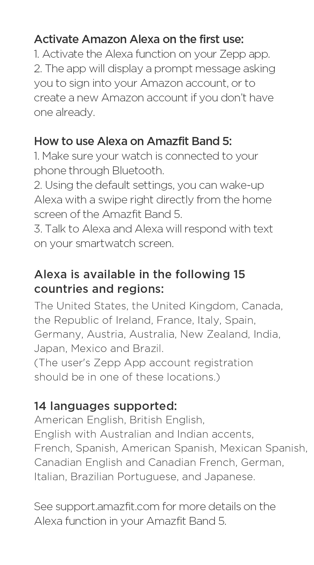 Amazfit Band 5 Product Specifications