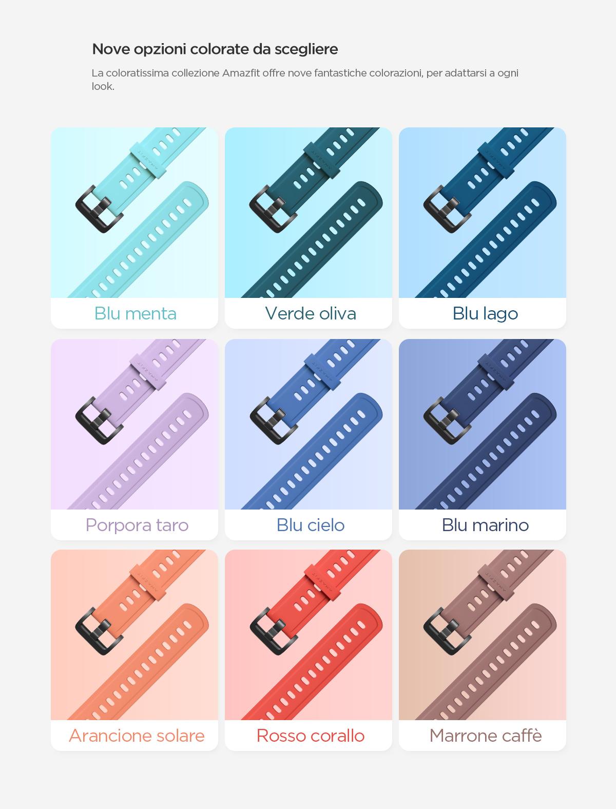 Amazfit Strap - Nove opzioni colorate da scegliere.